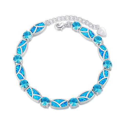 CiNily Created Blue Fire Opal Aquamarine Rhodium Plated for Women Jewelry Gems Chain Bracelet