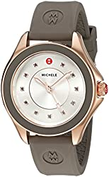 MICHELE Women's Cape Quartz Stainless Steel and Silicone Dress Watch, Color:Brown (Model: MWW27A000014)