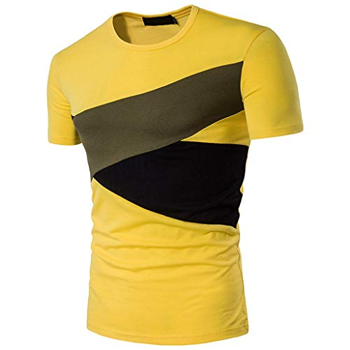 Mens Summer t Shirts Short Sleeve,Tronet Men's Summer New T-Shirt with Stitching Short Sleeves Comfortable Blouse Top Yellow