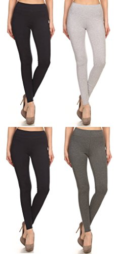 2ND DATE Women's Basic Cotton Stretch Leggings with Comfort Waistband-4 Pack (Guess Leggings Cotton)