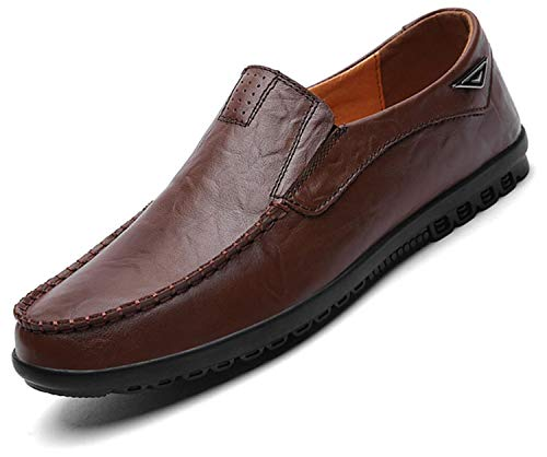 Go Tour Men's Premium Genuine Leather Casual Slip on Loafers Breathable Driving Shoes Fashion Slipper A Dark Brown 10.5/46