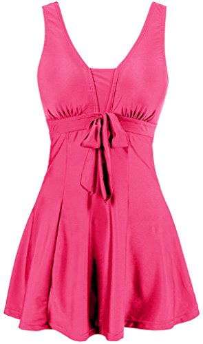 Wantdo Women's Push Up Swimsuit High Waisted Swimwear Tankini Set Plus Size Pink US - Skirt Coral Suit