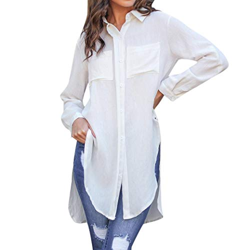 Uni Split Femme Longues T Shirts Mode Sexy Ladies Amples Blanc Blouse  Automne Tops Causal Manche ... 2063a5f7f47