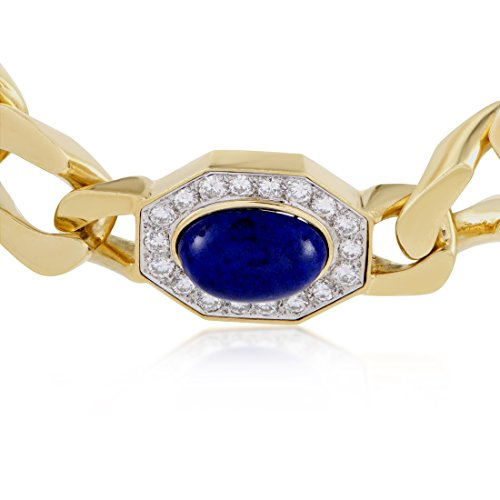 Womens 18K Yellow and White Gold Diamond and Lapis Lazuli Choker Necklace by Luxury Bazaar (Image #2)