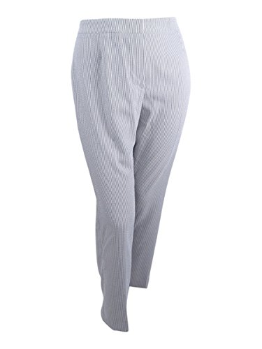 (Kasper Women's Petite Size Pinstripe Seersucker Pant, White/Black, 8P)