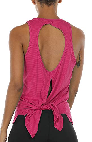 icyzone Open Back Workout Top Shirts - Activewear Exercise Yoga Tops for Women (L, Rose Red)
