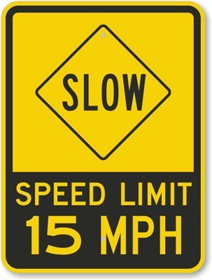 Slow - Speed Limit 15 MPH, Fluorescent Yellow Diamond Grade Reflective Aluminum Sign, 18