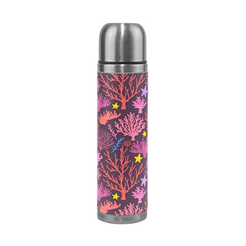 Jennifer Beautiful Red Coral Leak Proof Water Bottle Insulated Vacuum Stainless Steel Thermos