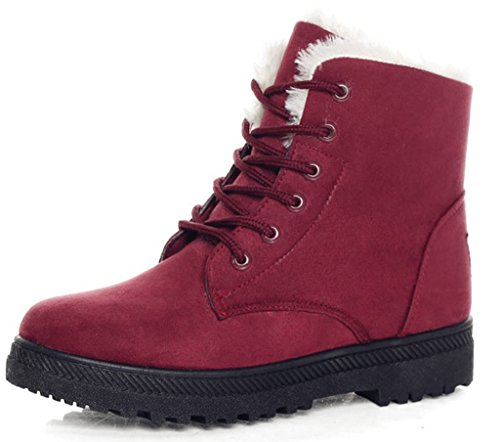 DADAWEN Women's Suede Waterproof Lace Up Winter High Top Snow Boots Red US Size 8