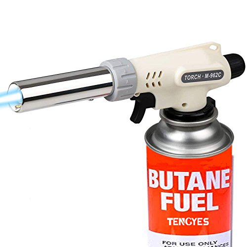 TENGYES Kitchen Butane Torch Lighter Blow Culinary Torch Chef Cooking Torches Professional Adjustable Flame Lighteres with Reverse Use for Creme, Brulee, BBQ, Baking, Jewelry - Butane Not Included by TENGYES