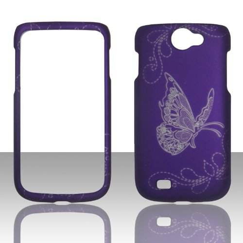 2D Butterfly on Purple Samsung Exhibit II 4G T679 / Galaxy Exhibit 4G / Galaxy W (i8150) Wonder T-Mobile Hard Case Snap-on Rubberized Touch Case Cover Protector