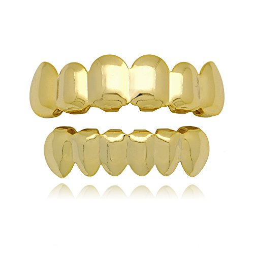 Lureen 14k Gold Plated Hip Hop Teeth Grills Caps 6 Top & Bottom Grills Set (Gold)
