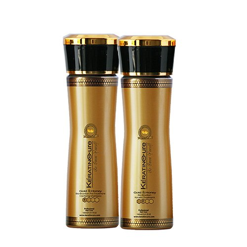 Keratin Cure Best Treatment Gold and Honey Bio 5 oz 2 piece kit Silky Soft Hair Formaldehyde Free Professional Complex with Argan Oil Nourishing Straightening Damaged Dry Frizzy Coarse Curly Wavy Hair