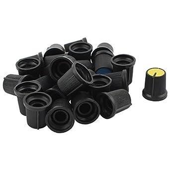 Uxcell a14031200ux0639 Potentiometer Control Knobs Plastic 20 Piece Black 6 mm Round Shaft Diameter