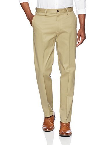 BUTTONED DOWN Men's Relaxed Fit Flat Front Stretch Non-Iron Dress Chino Pant, Wheat, 32W x 32L (China Fine Wheat)