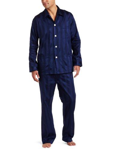 Derek Rose Men's Lingfield Pajama Set, Navy, Large (Pajamas British)