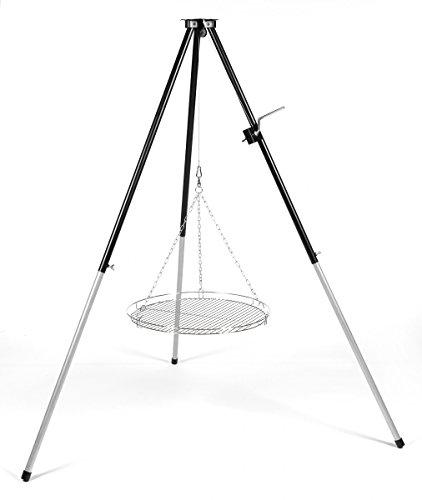 Schwenker Dreibein-Grillgestell mit Kurbel für Schwenkgrill mit Rost 70 cm verchromt & Wurstzange