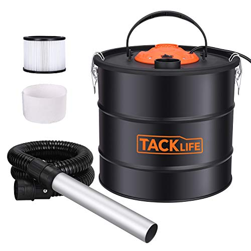 Ash Vacuum, TACKLIFE 800W Ash Vacuum Cleaner Ash VAC Canister 5 Gallon Capacity Bagless Debris/Dust/Ash Collector, Suitable for Fire, Log Burners, Stoves-PVC03A (Vacuum For Ash Stoves Pellet)