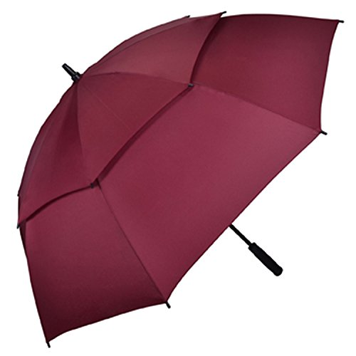 Kung Fu Smith Auto Open 54 Inch Double Canopy Vented Windproof Golf Umbrella Red