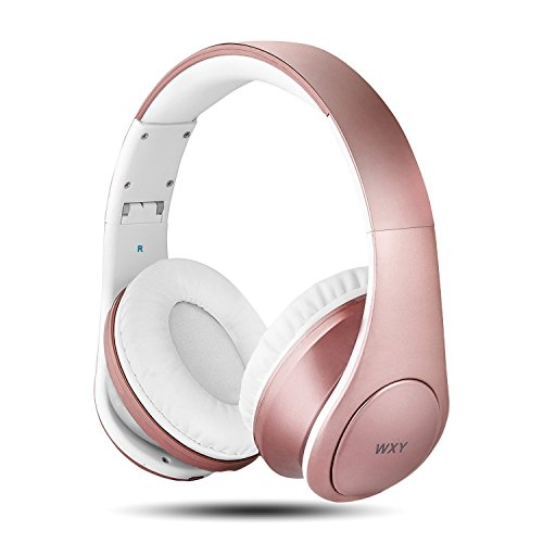 Bluetooth Headphones Over Ear Wxy Foldable Wireless And Wired Bluetooth 4 2 Headphones With Microphone On Headsets Volume Control For Kids Women In Cell Phones Iphone Tv Pc Rose Gold Noise Cancelling Headphone
