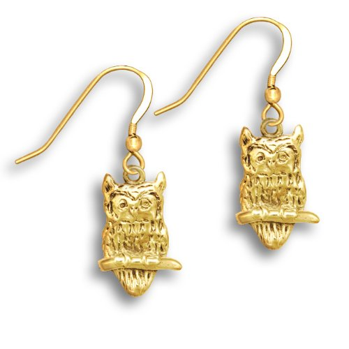14k Gold Owl Earrings by The Magic Zoo