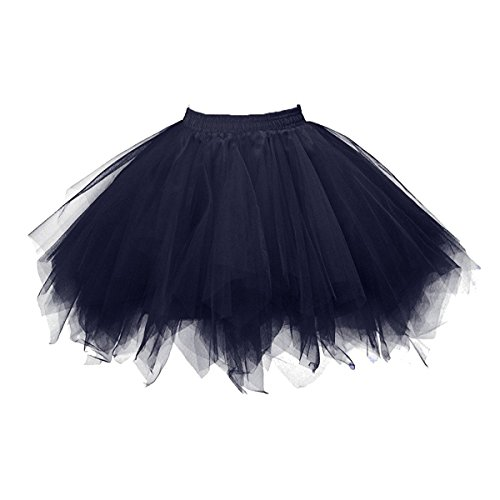 Honeystore Women's Short Vintage Ballet Bubble Puffy Tutu Petticoat Skirt Navy for $<!--$19.99-->