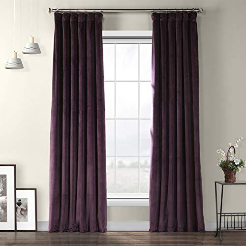 HPD Half Price Drapes VPYC-181428-84 Heritage Plush Velvet Curtain, 50 x 84, Omega Purple