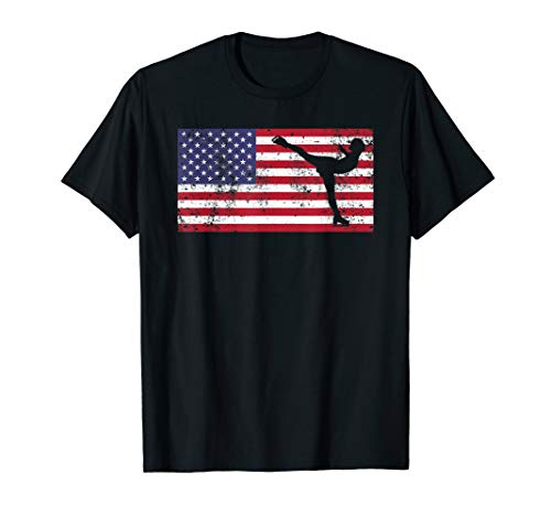American Flag Ice Skating Figure Skater 4th of July T Shirt ()