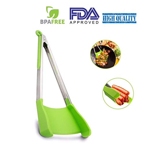 2-in-1 Non-Stick Silicone Spatula and Tong – Grab, Scoop and Flip with One Utensil – for Kitchen, BBQ or Backpacking – Heat Resistant, Dishwasher Safe