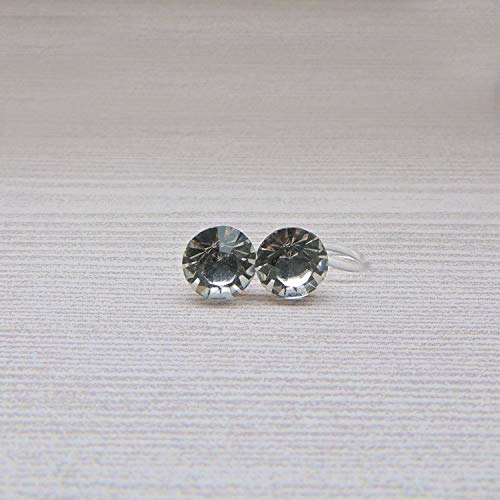 Invisible Clip On 8mm Round Glass Rhinestones Earrings for Non-Pierced Ears, Clear