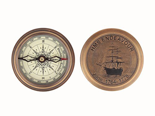 Store Indya,Gifts Handcraft Pocket Compass Brass Vintage H.M.S Endeavor for Camping Accessories Office Desk - Glasses Summer India