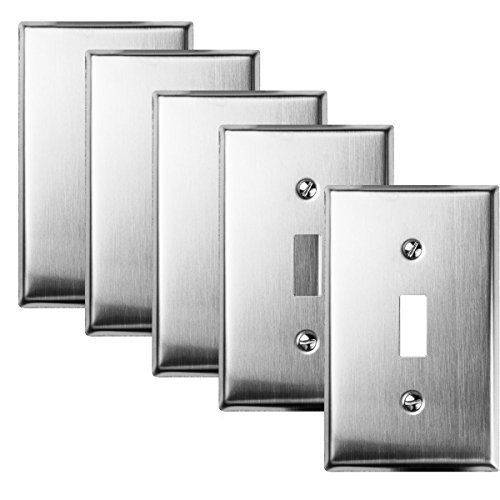 TOPELE 1-Gang Stainless Steel Toggle Switch Wall Plate, Standard Size, Device Mount, Cover Plate for Home Decor Commercial Place with Screw, Pack of 5