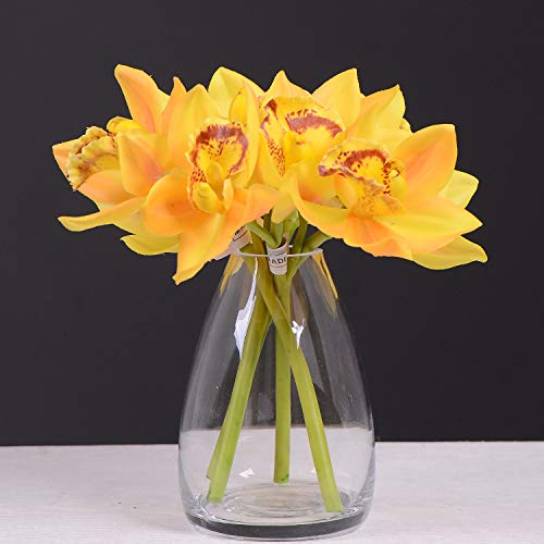 Rinlong Real Touch Silk Orchids Yellow Orchid Artificial Flowers Phalaenopsis Stem for Table Centerpiece Home Kitchen Party Decor (Yellow Cymbidium, 3pcs) ()