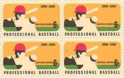 Professional Baseball Set of 4 x 6 Cent US Postage Stamps NEW Scot 1381 by US Postage (4 Stamp Plate)