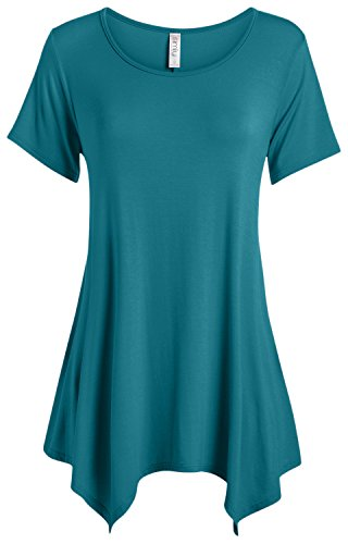 Simlu  Tops for Women Short Sleeve Regular and Plus Size Tunic T Shirt,Teal,XXX-Large
