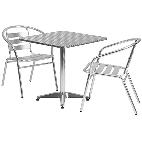 Flash Furniture 27.5'' Square Aluminum Indoor-Outdoor Table Set with 2 Slat Back Chairs (And Chairs Table Bistro Silver)