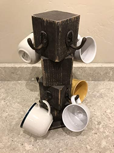 A Variety of Colors Farmhouse Tea Cup Decor Rustic Reclaimed Barn Wood Coffee Cup Hanger Cottage Style Holder Shabby Chic Coffee Bar Decoration Painted Barnwood Mug Tree White 8 Hooks.
