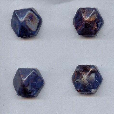 PlasticBeadsWholesale Jewel-Tone Faceted Hexagon Cabochons | Plastic Acrylic Lucite Flatback Beads for Jewelry Making | Opaque Lapis Marble Bronze Inlay 12MM Sold in Lots of 12