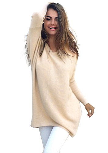 Tunique Casual Tops Beige Pull Casual V Femme Oversize Yidarton Longues Col Shirt Robe Manches Zxw8wnO