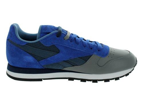 Reebok Mens CL LTHR R12 Lace-Up Fashion Sneaker Stash/Ultramarine/Athletic Navy/Medium Grey EY9A53TSw