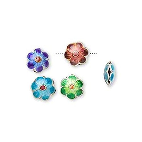8 Silver Plated Multi Flower Cloisonne Disc Beads for Jewelry Making, Supply for DIY Beading Projects ~ 8mm