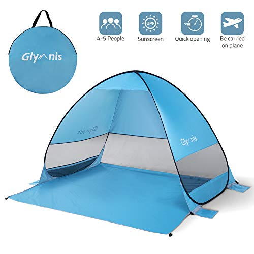 (Glymnis Beach Tent Beach Sun Shelter Pop Up Beach Shade Tent with Portable Sun Shade UPF 50+ for Outdoor Activities Beach Traveling Blue)