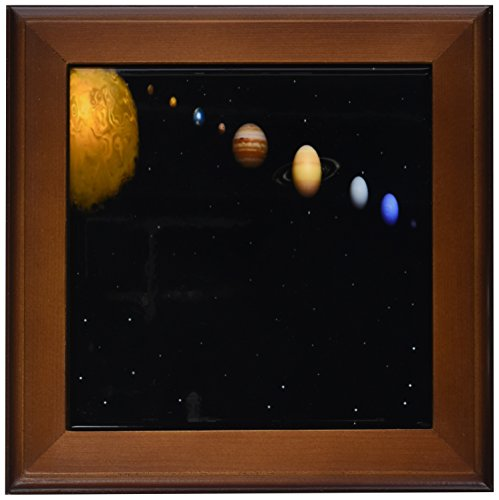 3dRose ft_40282_1 Alignment of Our Solar System Framed Tile, 8 by 8-Inch by 3dRose