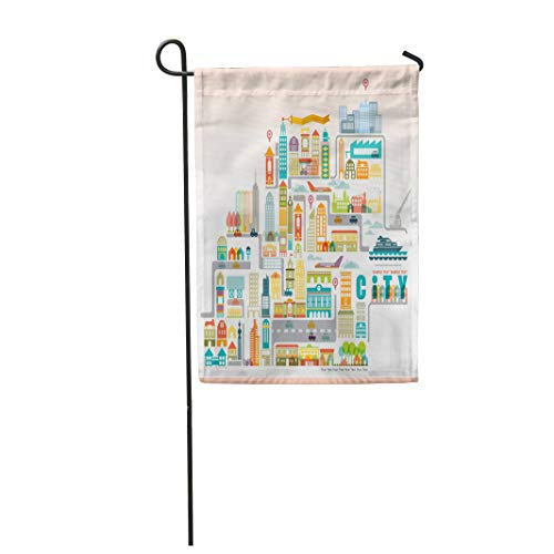 Semtomn Garden Flag 12x18 Inches Print On Two Side Polyester Road City Map with Building Park Creative Cut Tree Idea Property Toy Home Yard Farm Fade Resistant Outdoor House Decor Flag ()