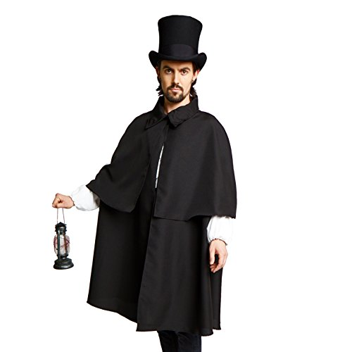 Victorian Dickens Steampunk Sherlock Holmes Costume Cloak Cape Inverness Black (M/L)