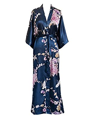 Old Shanghai Women's Kimono Long Robe - Chrysanthemum & Crane