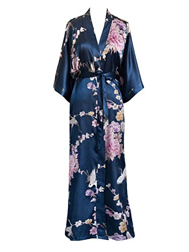 Old Shanghai Women's Kimono Long Robe - Chrysanthemum & Crane (Navy) -