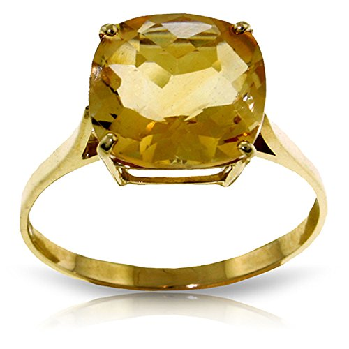 Yellow Gold Ring Checkerboard Cushion Cut Natural Citrine 2313Y (5.5) ()