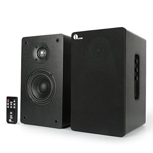 1byone Powered Bluetooth Classic Bookshelf Speaker with 4'' Woofer and 1'' Tweeter, 2X30W RMS(Black, Pair)