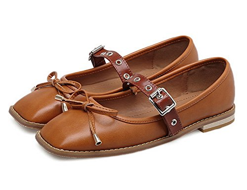 1TO9 Womens Buckle Bows Square-Toe Square Heels Urethane Flats Shoes Brown YOHLVZcG